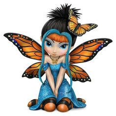 Jasmine Becket-Griffith fairy figurine with butterfly wings; matched leggings; butterfly hair piece; pearlescent and glitter accents. Limited edition!