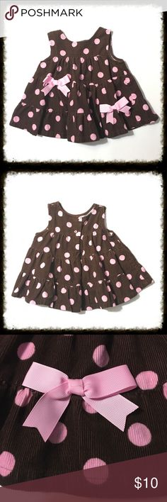 Brown Corduroy Jumper with Pink Dots & Bows Adorable and in excellent condition. Bottoms Jumpsuits & Rompers