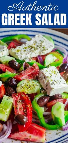 This Greek salad with tomatoes, cucumbers, and bell peppers is prepared exactly how you will find it on the Greek islands! So easy and packed with flavor! Recipe comes with great tips and a full tutorial. Greek Salad Recipes, Salad Recipes Video, Healthy Salad Recipes, Greek Feta Salad, Best Greek Salad, Tomato Salad Recipes, Easy Recipes, Mediterranean Diet Recipes, Mediterranean Dishes