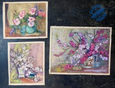 3 Fabulous MID CENTURY MoDerN Oil Painting 1950s pink white red flowers SIGNED  | eBay From our repertoire of lovelies #Awesome #collectibles for creative thinkers.  #Ventura #California. #love #hugs #Kisses #repurpose #assemblage #art #collect #famous #fabulous #treasure #hope #play #makingstuff #dreamy #wishes #favoritethings #boy #girl #men #women  #vintage #gifts #design #retro #flowers #midcentury #oilpaingings #schminke #ventura #artist #california #sunday