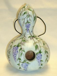 Wisteria Gourd Birdhouse  Hand Painted Gourd by FromGramsHouse,