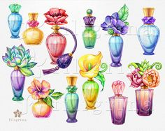 Bottle Drawing, Stencil Art, Elements Of Art, Bottle Design, Watercolor Art, Art Drawings, Perfume Bottles, Clip Art, Etsy