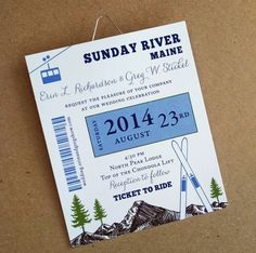 Mountain wedding invitation Ski Pass, part of the mountain resort wedding collection from ideachic