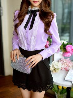 Shop Blouses - Sweet H-line Turtleneck Long Sleeve Blouse online. Discover unique designers fashion at StyleWe.com.