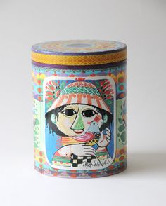 Bjørn Wiinblad for IRMA Contemporary Art with everyday ambitions. Vintage Coffee Tin - mid century modern collectible container.