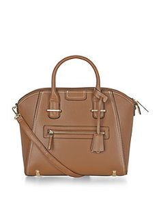 Tan Contrast Stitch Tote Bag    New Look