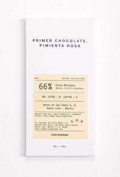 Primer chocolate, Pimienta Rosa, Casa Bosques, Mexico #packaging