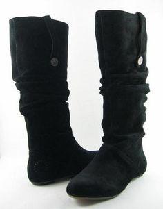UGG HIGHKOO II Black Suede 1948 Button Womens Designer Shoes Boots 9.5 EUR 40.5