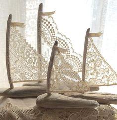 ~ Casa Decor, primeros de la torta, regalos o favores ~ hermoso más allá de comparar! Impresionantes veleros de madera con los textiles de otros
