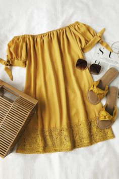 Catch some rays in the Moment In The Sun Mustard Yellow Lace Off-the-Shoulder Dress! An off-the-shoulder dress with tying, short sleeves. Mode Outfits, Casual Outfits, Fashion Outfits, Womens Fashion, Ladies Fashion, Hipster Outfits, School Fashion, Fashion 2018, Dress Fashion