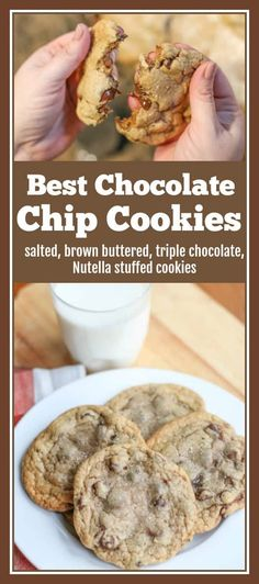 These salted, brown buttered, triple chocolate, Nutella stuffed cookies make the best chocolate chip cookies recipe! They have a crispy edge and a gooey center that melt in your mouth with each bite. Quick Easy Desserts, Cold Desserts, Chocolate Desserts, Delicious Desserts, Best Chocolate Chip Cookies Recipe, Nutella Cookies, Real Food Recipes, Cookie Recipes, Dessert Recipes