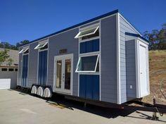 A beautiful modern, blue tiny house