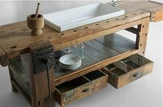 Vintage kitchen furniture Olmo Table by Manoteca . via Designchen - Vintage kitchen furniture Olmo Table by Manoteca … via Designchen - Vintage Home Decor, Vintage Furniture, Diy Home Decor, Furniture Design, Ideas Vintage, Furniture Removal, Vintage Style, Rustic Kitchen, Vintage Kitchen