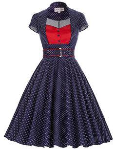 Women's Elegant Lapel Collar 1950s Vintage Church Party Dresses Navy Blue(S)