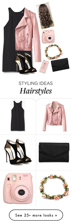 """""""Pink leather jacket"""" by taylahjordan on Polyvore featuring MANGO, LULUS and Fujifilm"""