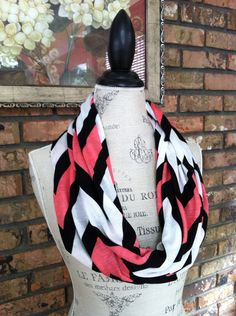 Black, White and Coral Scarf, Nursing Scarf, Infinity Scarf on Etsy, $23.00