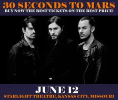 30 Seconds To Mars in Kansas City at Starlight Theatre on June 12. More about this event here https://www.facebook.com/events/1322848744436977/