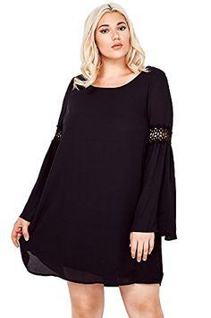 Fashion Bug Women Plus Size Solid Color Chiffon Babydoll Bell Dress (Plus Size) USA www.fashionbug.us #PlusSize #FashionBug