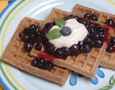 Oat Waffles.   Replace honey with molasses or blended dates.