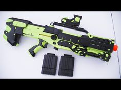 A lime green and black painted Nerf Longshot. Nerf Snipers, Nerf Longshot, Modified Nerf Guns, Water Guns, Fun Time, Lime, Green, Black, Weapons Guns