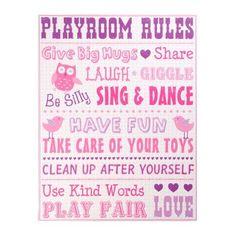 Playroom Rules for Girls Canvas Art Print | Kirklands