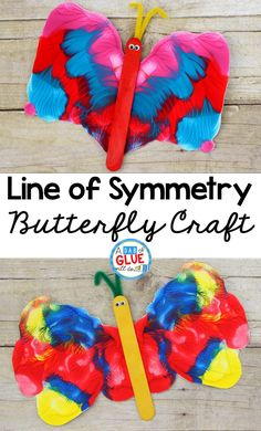 This Line of Symmetry Butterfly Craft is a fun process art activity and will be a great addition to your butterfly unit this year. This is perfect for preschool, kindergarten, and first grade students. Symmetry Activities, Insect Activities, Spring Activities, Activities For Kids, Symmetry Worksheets, Science Activities, Preschool Art Projects, Kindergarten Crafts, Preschool Crafts