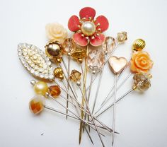Beautiful Peach Hijab Pins / Sewing Pins by https://www.etsy.com/shop/RubinaKadir