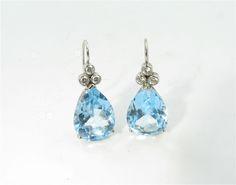 A pair of handmade white gold, diamond, and blue topaz drops- Camilla Dietz Bergeron