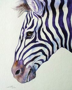 I find this Zebra extremely suave and handsome. This is one from my Purple Stripes series.In this series I explore the mystery of the beautiful Zebra stripes.When Zebras move in their herds, the . Zebra Kunst, Zebra Art, Zebra Drawing, Painting & Drawing, Watercolor Animals, Watercolor Paintings, Wildlife Art, Horse Art, Animal Drawings