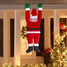 Gemmy Outdoor Decor Santa Hanging From Gutter: Make your home a winter wonderland this holiday season with this fun and festive decoration! Hanging Santa Christmas Decoration: Dimensions: x x Made of polyester Perfect for any home Easy to useLet your Christmas Roof Decorations, Christmas Porch, Simple Christmas, Christmas Lights, Holiday Decor, Santa Christmas, Christmas Door Decorating Contest, Apartment Christmas, Magical Christmas