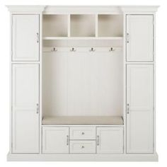 Hallway storage Cabinet - Home Decorators Collection Royce Polar White 79 25 Hall Tree. Entryway Storage Cabinet, Locker Storage, Shoe Storage, Mudroom Storage Ideas, Storage Benches, Cubby Storage, Mudroom Benches, Garage Entryway, Entryway Hall Tree