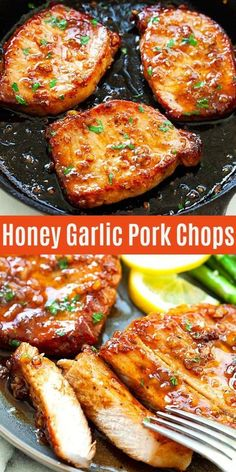Garlic Pork Chops Honey Garlic Pork Chops cooked in a skillet, with sticky honey garlic sauce, all done in less than 15 minutes. This recipe is absolutely delicious, with only 5 main ingredients Meat Recipes, Cooking Recipes, Healthy Recipes, Easy Pork Chop Recipes, Pork Chip Recipes, Honey Recipes, Delicious Recipes, Honey Garlic Pork Chops, Vegetarian Recipes