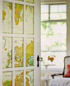 Add character and privacy to glass doors by backing glass panels with an old map or decorative wrapping paper.