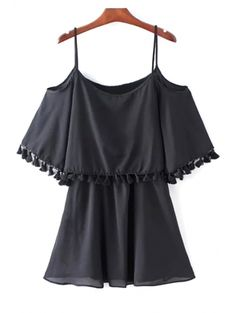 SHARE & Get it FREE | Black Fringe Cami Half Sleeve Cold Shoulder DressFor Fashion Lovers only:80,000+ Items • New Arrivals Daily Join Zaful: Get YOUR $50 NOW!