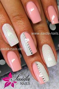 Going to do all peach nails with one half sparkle and gem nail #summernails