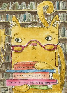 Librarian Kitty Cat by Kathy Weller