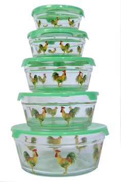 Set 5 Glass Storage Containers with Lid - Rooster Decor by GinsonWare by Divonsir Borges Kitchen Decor Sets, Rooster Kitchen Decor, Rooster Decor, Kitchen Dishes, Kitchen Storage, Kitchen Stuff, Rooster Plates, Kitchen Organization, Kitchen Gadgets