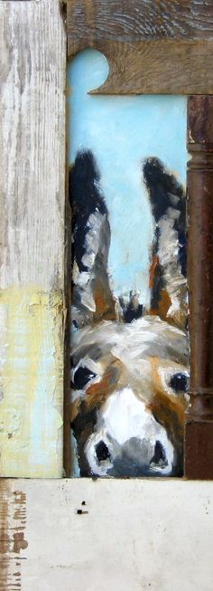 """""""Baby Blue"""" (Love him! """"Baby Blue"""" (Love him!) – Oil on wood with the very coolest of re-purposed barn wood frames! Animal Art, Small Paintings, Painting, Illustration Art, Cool Paintings, Painting Crafts, Animal Paintings, Canvas Art, Barn Painting"""