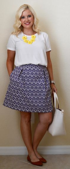a blog reflection + work outfit: ikat a-line skirt + yellow...