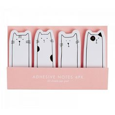 ADHESIVE NOTE 4PK CAT VÄNSKAP (19 BRL) ❤ liked on Polyvore featuring home, home decor, fillers, fillers - pink, accessories, decor, cat home decor and pink home decor