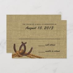 Custom Western Rope and Horse Shoes Response Personalized Invites created by happygotimes. This invitation design is available on many paper types and is completely custom printed. Country Wedding Stationery, Outdoor Wedding Invitations, Wedding Invitation Design, Wedding Reply Cards, Wedding Rsvp, Rustic Wedding, Response Cards, No Response, Tie The Knot Wedding