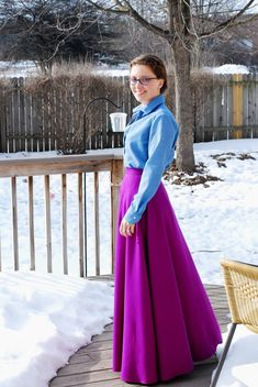 Chambray #Archer Blouse with #vintagepledge Simplicity 9172 Maxi Skirt in vibrant orchid wool/silk