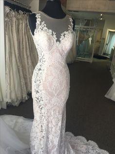 08325f17e Eddy K Dreams Blush illusion slit wedding gown covered in lace! Eddy K Wedding  Gowns