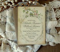 RUSTIC WEDDING INVITATION Suite - Unique, Custom Designed Wedding Invitation Suite. Shabby Chic, Rustic and Vintage Inspired.