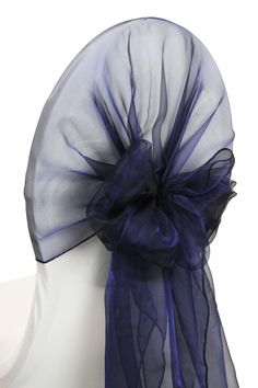 Snow Organza Chair Caps/Hoods - Navy Blue Many colors available and works on different types of chairs www.cvlinens.com #Wedding #Navy #Decor