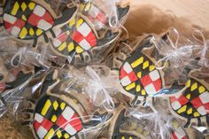 Maryland flag crab cookies! Perfect favors for a Maryland wedding! Zee Best Catering. Photo by Danny Douglas at Greenwell State Park.