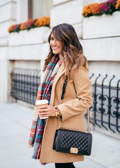 haute off the rack, camel coat, topshop coat, high-waisted denim, black quilted bag, rebecca minkoff love crossbody bag, julie vos jewelry, plaid scarf, brunette balayage hair, christmas day outfit, holiday style, fall fashion, women's fashion