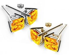Rhodium Plated Topaz Color Square Shape 6mm Yellow Color Stud Earrings made with Swarovski Crystals. #Glimmering #swarovskistudearrings #swarovskistuds #swarovskiearrngsstuds #birthstonestudearringsswarovski #austriancrystalearringsstuds  Shop Now: http://www.glimmering.co.in/earrings/swarovski-stud-earrings.html
