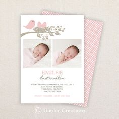 INSTANT DOWNLOAD: Birth Announcement Template - Pink and taupe bird nest on Etsy, $3.50