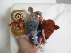 Ravelry: Under the Moonlight Animal Finger Puppets ... Badger, Fox, Owl, Deer pattern by Lindsay Mudd
